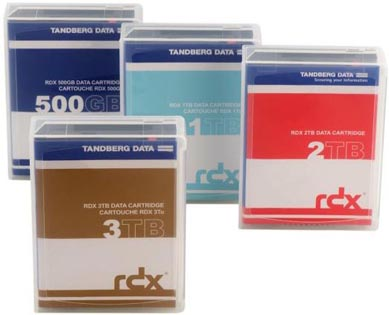 Tandberg Data RDX Cartridges - 500GB RDX, 1TB RDX, 2TB RDX, 3TB RDX